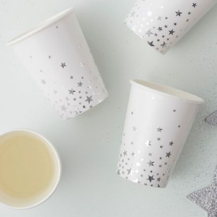 Christmas Silver Star Paper Cups -  pack of 8